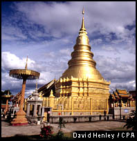 The golden chedi at Wat Phra That Haripunchai