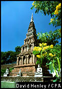 Laterite chedi at Wat Phra That Haripunchai, Lamphun