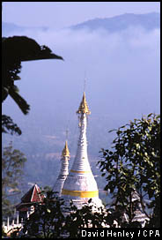 View over Mae Hong Sorn from Wat Phra That Doi Kong Mu